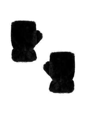 Czarny rękawiczki sztuczne futro Apparis