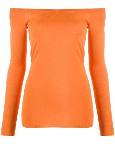 С рукавами оранжевый шерстяной джемпер с открытыми плечами Stella Mccartney