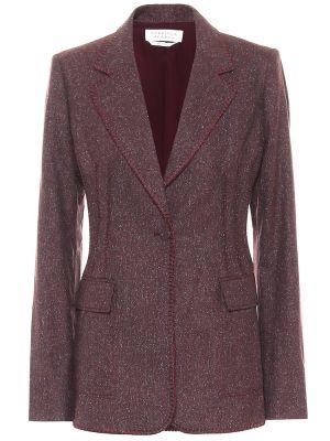 Шерстяной малиновый пиджак с опушкой Gabriela Hearst