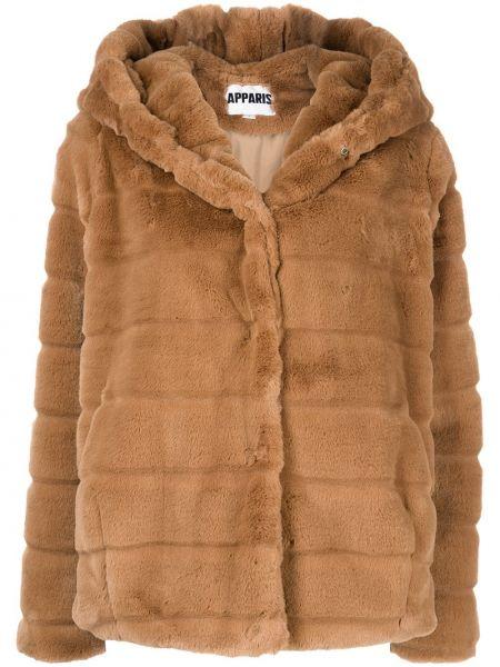 Brązowy długi płaszcz z kapturem Apparis