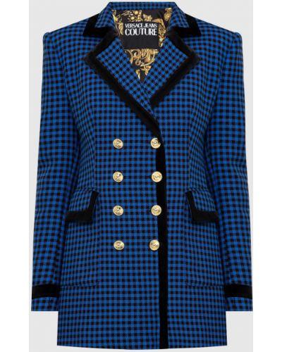 Пиджак в клетку - синий Versace Jeans Couture
