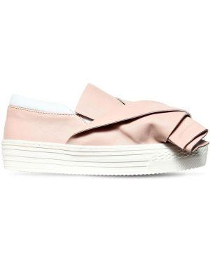 Розовые кожаные слипы эластичные N°21