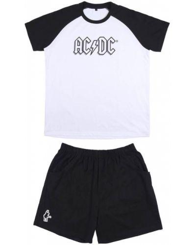 Piżama bawełniana - biała Acdc