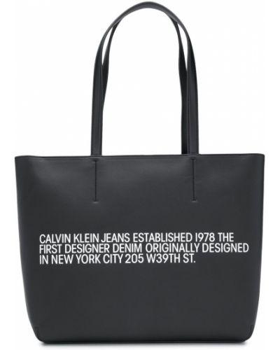 Черная сумка-тоут металлическая на молнии Calvin Klein