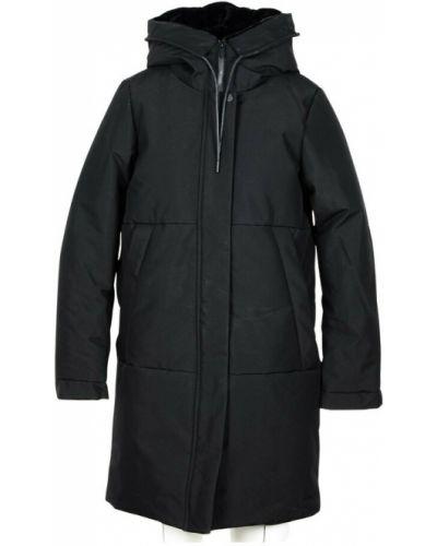 Czarny płaszcz z kapturem Elvine