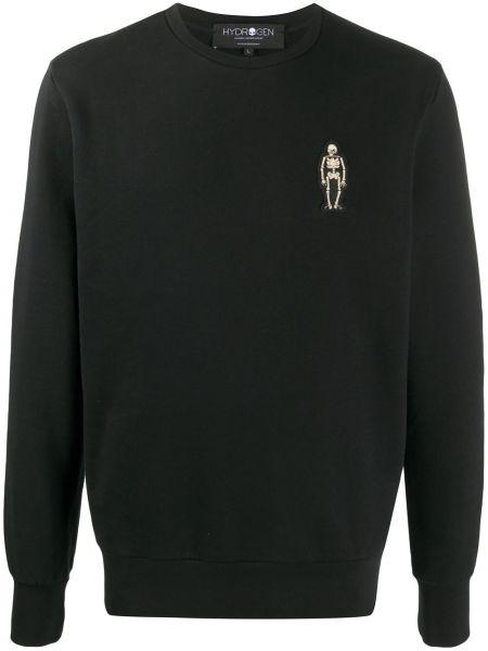 Czarna bluza z długimi rękawami bawełniana Hydrogen
