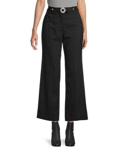 Шерстяные черные укороченные брюки с карманами Miu Miu