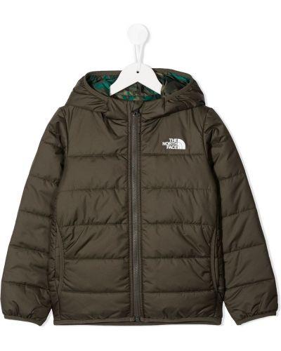 Классическая зеленая куртка с капюшоном двусторонняя с вышивкой The North Face Kids