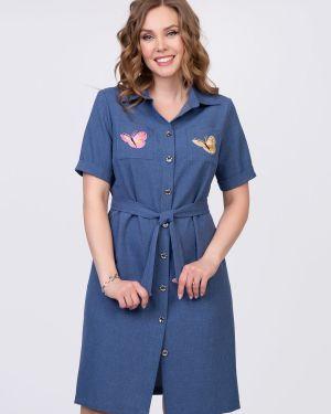 Летнее платье на пуговицах с воротником с манжетами с карманами Diolche