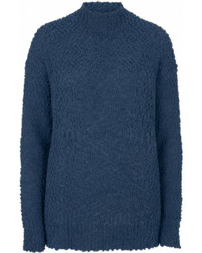 Темно-синий пуловер с воротником букле Bonprix