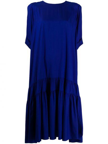 Синее шелковое асимметричное платье с вырезом Rochas