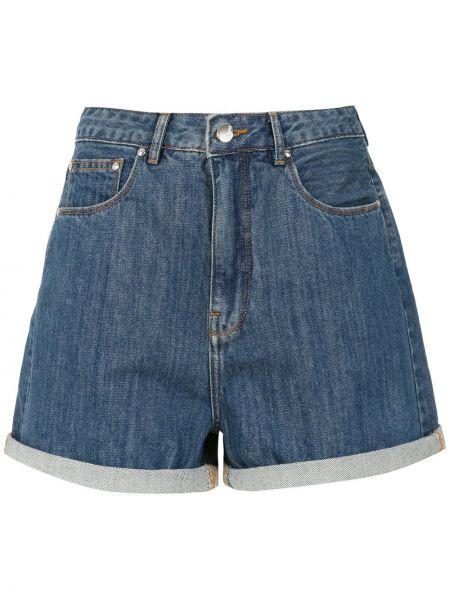 Прямые джинсовые шорты с карманами со стразами Amapô
