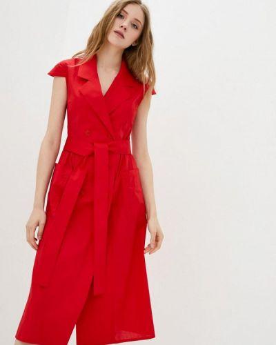 Прямое красное платье А-силуэта Ricamare