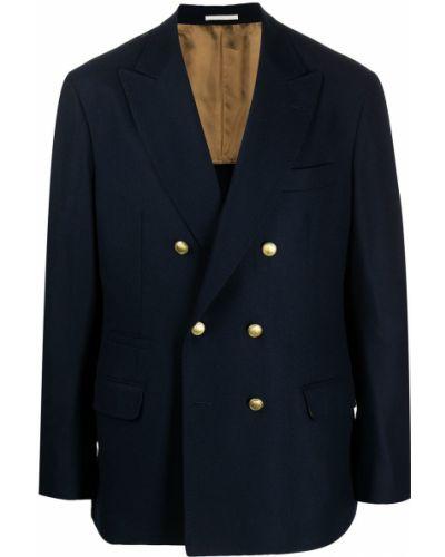 Шелковый синий классический пиджак двубортный Brunello Cucinelli