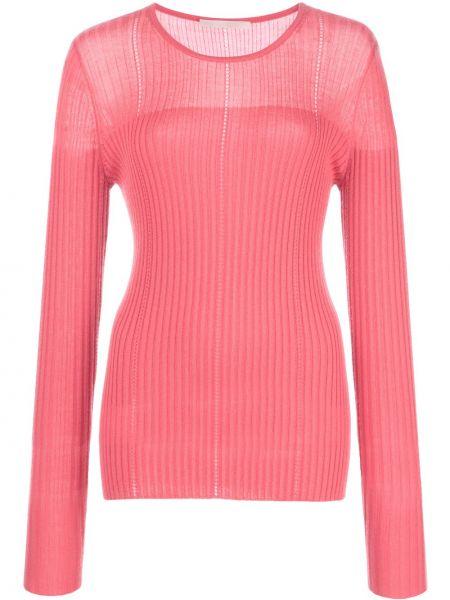 Шерстяной розовый свитер в рубчик с круглым вырезом Jason Wu Collection