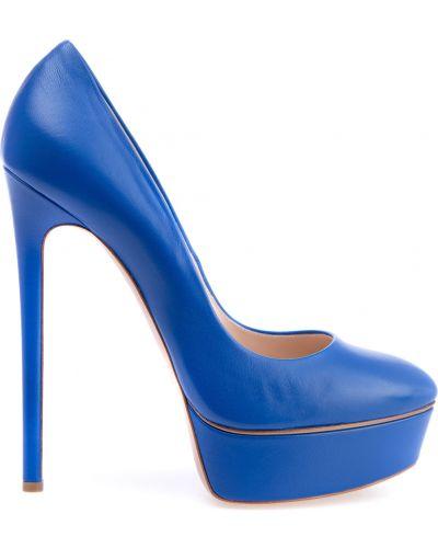 Туфли на каблуке кожаные на платформе Casadei