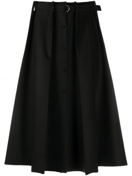 Шерстяная юбка миди - черная Fendi