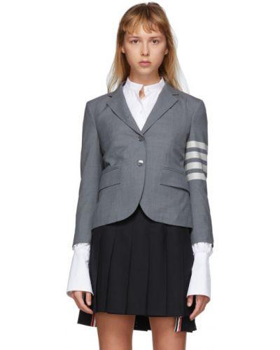 Серебряный классический пиджак с воротником с манжетами с карманами Thom Browne