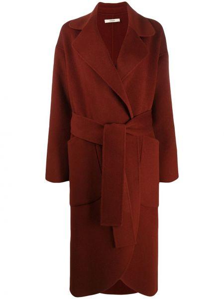 Коричневое шерстяное пальто с воротником с поясом Odeeh