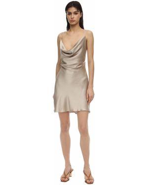 Платье мини атласное - бежевое Bec & Bridge