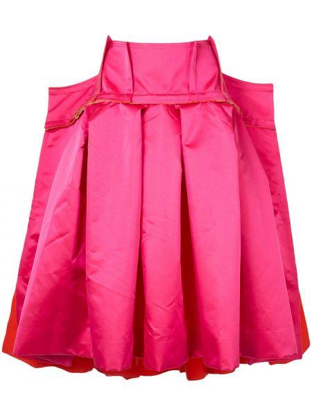 Приталенная розовая плиссированная юбка Comme Des Garçons