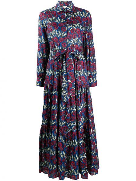 Хлопковое фиолетовое платье на пуговицах с воротником La Doublej