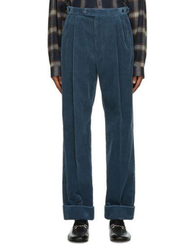 Кожаные синие брюки с карманами Gucci