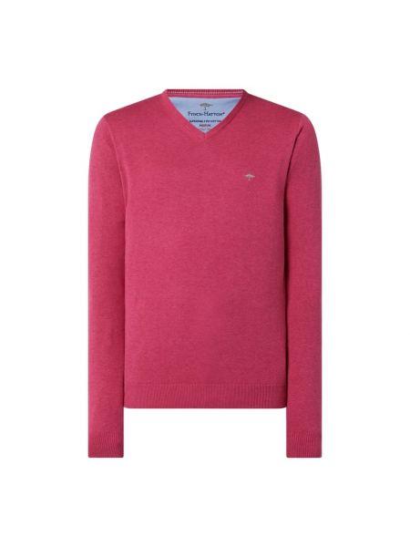 Sweter z dekoltem w serek - różowy Fynch-hatton