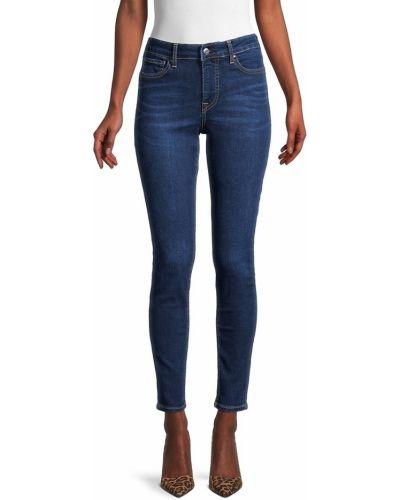 Синие зауженные укороченные джинсы с карманами True Religion