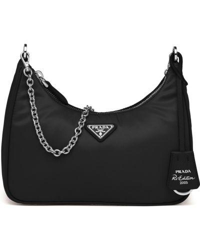 Кожаная черная сумка на плечо с декоративной отделкой Prada