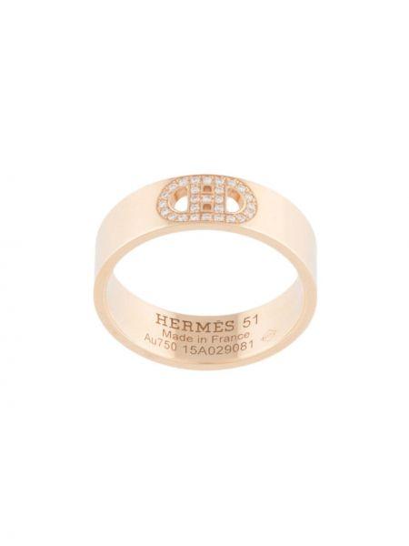 Z rombem pierścień z diamentem złoto Hermes