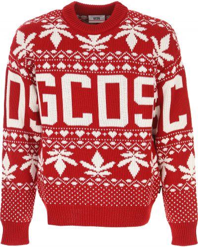 Czerwony sweter z akrylu z długimi rękawami Gcds