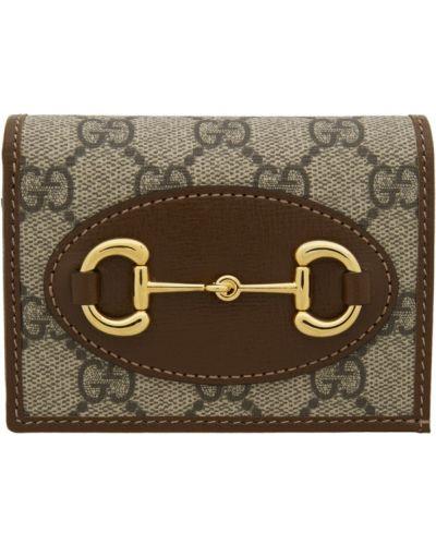 Czarny portfel skórzany z gniazdem z prawdziwej skóry wytłoczony Gucci