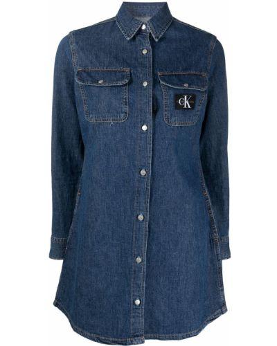 Синее джинсовое платье с воротником на пуговицах Calvin Klein Jeans
