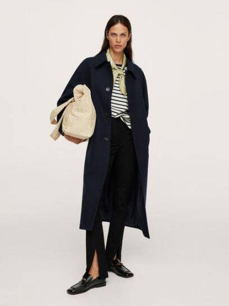 Синее шерстяное пальто Mango
