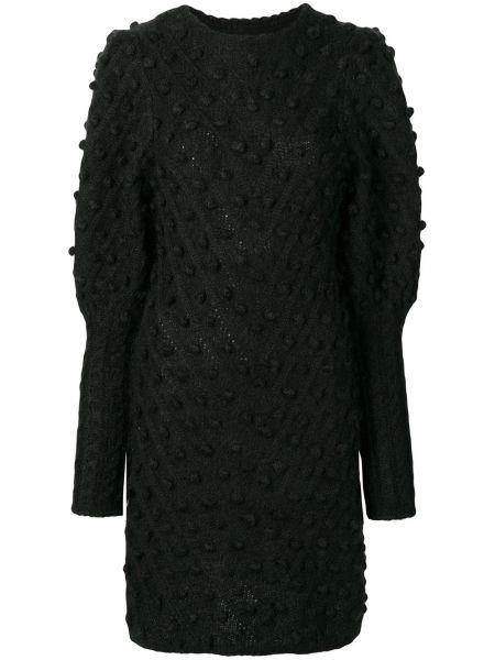 Черное облегающее платье в рубчик из мохера узкого кроя Zimmermann