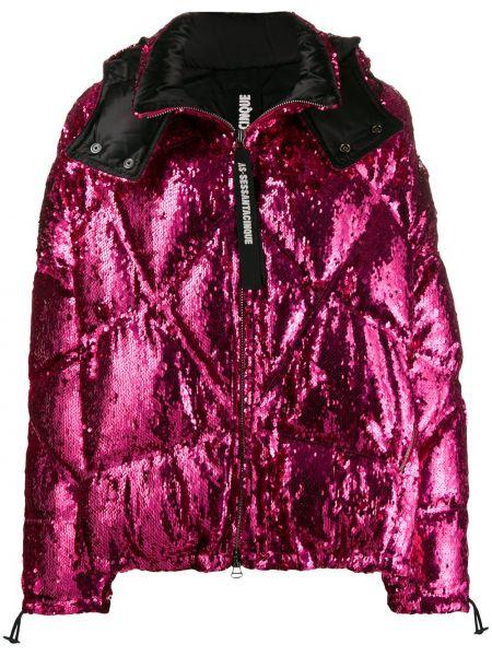 Розовая куртка с капюшоном на молнии с манжетами с перьями As65