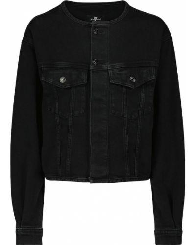 Хлопковая ватная черная джинсовая куртка 7 For All Mankind