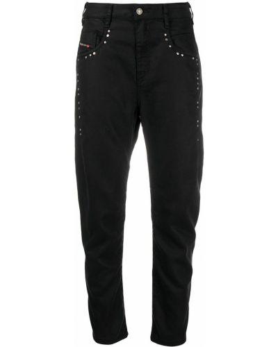 Хлопковые черные джинсы бойфренды на молнии Diesel