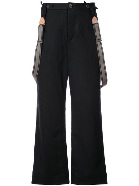 Шерстяные черные брюки свободного кроя со стразами Individual Sentiments