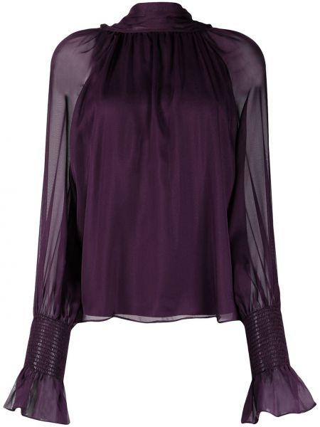 Jedwab fioletowy z rękawami bluzka z mankietami Temperley London