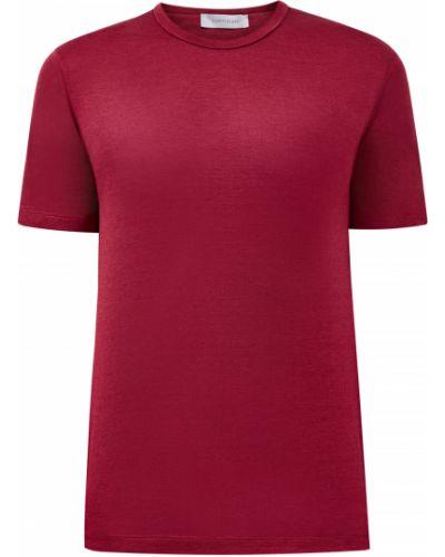 Красная шелковая футболка с сеткой с круглым вырезом Cortigiani