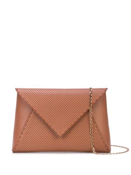 Кожаная золотистая коричневая кожаная сумка с перфорацией Tyler Ellis