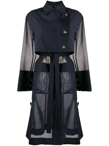 Коралловое длинное пальто с воротником с поясом из органзы Eudon Choi