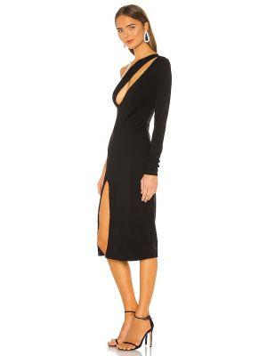 Нейлоновое черное платье миди на молнии H:ours