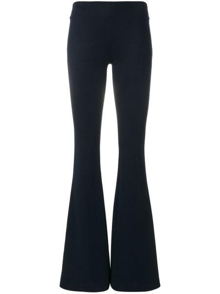 Niebieskie spodnie z wiskozy rozkloszowane Galvan