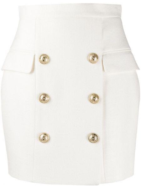 Белая плиссированная юбка мини с карманами Balmain
