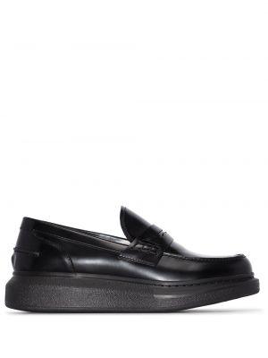 Czarny loafers z prawdziwej skóry Alexander Mcqueen