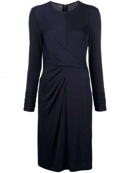 Niebieska sukienka mini z falbanami z długimi rękawami Elie Tahari