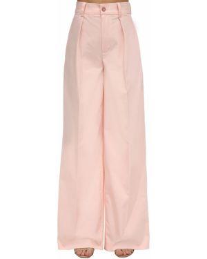 Różowe spodnie z wysokim stanem bawełniane Lesyanebo